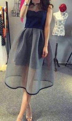Dark Blue Patchwork Grenadine Pleated Knee Length Midi Dress