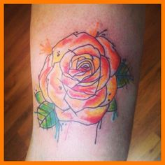 Abstract watercolour rose tattoo