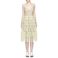 Self Portrait 'Azalea' ladder trim lace dress (1,925 MYR) ❤ liked on Polyvore featuring dresses, yellow, yellow lace dress, cocktail dresses, evening dresses, white lace cocktail dress and holiday cocktail dresses