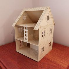 Wooden dollhouse design (1:12 scale). Dolls 4-7 inch (12-16cm). Pattern vector for CNC router and laser cutting. Plywood 4mm/5mm. CNC file. Drawing.