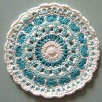 Crochet Mandala Wheel made by Meryl, USA, for yarndale.co.uk Crochet Mandala Pattern, Crochet Circles, Afghan Crochet, Crochet Granny, Crochet Doilies, Crochet Patterns, Love Crochet, Learn To Crochet, Crochet Coaster