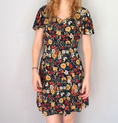 Vintage SCHEMES Dress / 1990s Dress / Floral Skater Mini / Short Flutter Sleeve / Button Front Tie Back / Navy Blue Bold Flower Print