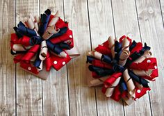 Girls Back To School Bows- Navy Red Khaki- School Uniform Bows- First Day of School- School Bows- Pigtail Bows