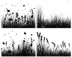 Grass backgrounds Vector silhouettes fixé pour utiliser la conception