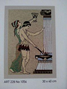 .Με θέματα εμπνευσμένα απο την Αρχαία Ελλάδα οι πίνακες αυτοί, θα κεντηθούν σταυροβελονιά ή γκομπλέν...προσοχή μόνο στο γκομπλέν μην στραβώσει το εργόχειρο.Χρησιμοποιήστε τελάρο. Θα κεντήσετε με μουλινέ DMC 4κλωνο, για να γεμίσει καλύτερα=0.85 ευρώ το τεμάχιο, ή κοτόν περλέ της προσφοράς μας με 1 ευρώ..(περιορισμένα χρώματα) Κόστος δέματος:1.50 ευρώ με ΕΛ.ΤΑ. Γιούλη Μαραβέλη-Χαλκίδα.Τηλ:22210 74152. Traditional Tapestries, Greek Pattern, Greek Design, Ancient Greek, Cross Stitch Patterns, Tapestry, Art, Crafts, Manualidades