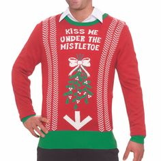 Best mens ugly christmas sweater, New Kiss Me Under The Mistletoe Ugly Christmas Sweater Tacky Funny Sweatshirt. Ugly Christmas Jumpers, Mens Ugly Christmas Sweater, Funny Christmas Sweaters, Funny Christmas Cards, Ugly Sweater, Christmas Humor, Naughty Christmas, Men's Sweaters, Party Invitations Kids