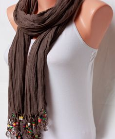 Brown scarf gift for her womens scarves lace by ScarfFASHIONISTA
