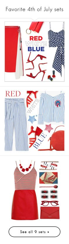 """Favorite 4th of July sets"" by sunnydays4everkh ❤ liked on Polyvore featuring Johanna Ortiz, La Ligne, Giuseppe Zanotti, Oribe, fourthofjuly, MANGO, Topshop, Lancaster, Ancient Greek Sandals and EyeBuyDirect.com"