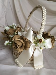 9aa93d6996 gold flower girl basket in ivory with satin by TheCrystalFlower Gold Wedding  Favors