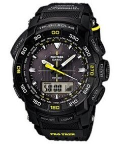 In the elegant & stylish Casio Protrek Tough Solar Mens Watch, the time appears at the bottom of the screen.