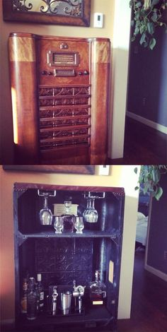 An Antique Radio Turned Into a Bar