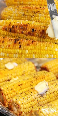Best Ever Oven Roasted Corn is prepped and ready to go in the oven in just 10 minutes. This recipe for corn on the cob in the oven is so simple you will be making it all year long! It is utterly life altering! Corn Dishes, Vegetable Dishes, Vegetable Recipes, Veggie Recipes Sides, Veggie Food, Mexican Food Recipes, Vegetarian Recipes, Cooking Recipes, Healthy Recipes