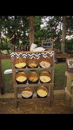 Popcorn bar for a wedding @ barn at twin oaks ranch