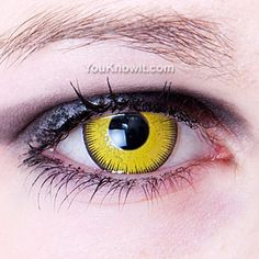 Yellow contact lenses, just to ensure she doesn't look too inviting...