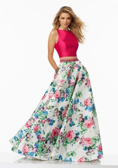 Morilee by Madeline Gardner 99003 | Two-Piece Floral Printed Larissa Satin Prom Dress with A-Line Skirt Accented by Natural Beaded Waistline. Open Keyhole Back. Colors Available: Fuchsia/White/Floral.