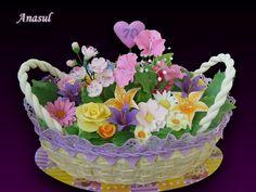 košík a kvety