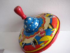 vintage spinning top toy Ohio Art Co. tin toy by zuzuandolive