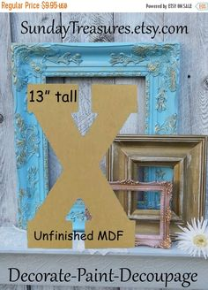 Summer Sale LARGE Unfinished Alphabet Letter X by SundayTreasures