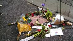 Tributes at the star for the late Leonard Nimoy on the Hollywood Walk of Fame