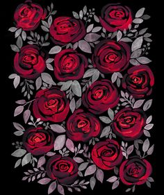 Watercolor red roses on black background