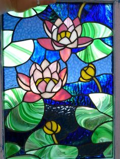 Waterlilies   Stained glass panel by ArtoftheMoment on Etsy