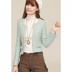 $15.60 Ladylike Round Neck Faux Pearl and Bowknot Embellished Long Sleeve Solid Color Slimming Short Coat For Women
