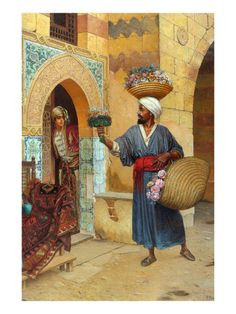 Rudolf Ernst The Flower Seller painting is shipped worldwide,including stretched canvas and framed art.This Rudolf Ernst The Flower Seller painting is available at custom size. Painting Prints, Art Prints, Paintings, Framed Artwork, Wall Art, Arabian Nights, Egyptian Art, Islamic Art, Oeuvre D'art
