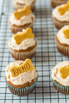 Pumpkin & Peanut Butter Pupcakes with Peanut Butter Cream Cheese Frosting, and Homemade Dog Biscuits Dog Biscuit Recipes, Dog Treat Recipes, Healthy Dog Treats, Dog Food Recipes, Doggie Treats, Dog Frosting Recipe, Frosting Recipes, Cake Recipes, Homemade Dog Cookies