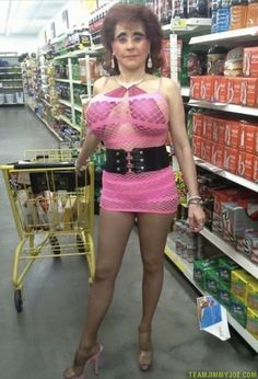 Crosserdresser in Grocery Store CD Transvestite shopping Walmart Bad Family Photos Funny Family Pics Awkward Family Photos crazy weird bad tattoos worst tattoos stupid people Family portraits strange