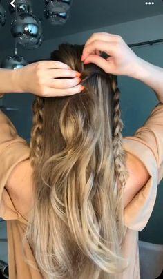 Boho Hair Updo, Boho Hairstyles For Long Hair, Half Updo Hairstyles, Super Easy Hairstyles, Flower Girl Hairstyles, Pretty Hairstyles, Hair Updo Tutorial, Simple Updo Tutorial, Bridesmaid Hair Tutorial