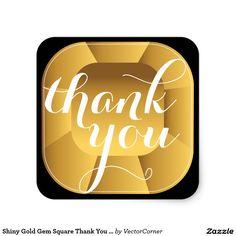 Shiny Gold Gem Square Thank You Sticker