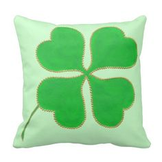 Green Shamrock trimmed in gold dots, pillows. The design is printed on both sides. #shamrock #pillows #ShamrockPillows