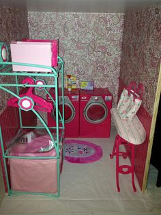 American Girl Laundry Room. Our Generation furniture.