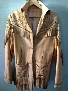 Vintage Nez Perce // Native American Leather Beaded Jacket front -  found on Jansvintagestuff on Etsy