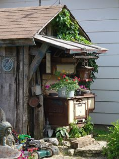 love the old stove on front porch
