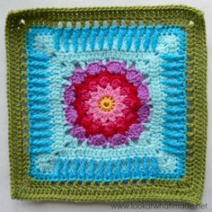 "Sadie Square (12"") Photo Tutorial - Look At What I Made: Block a Week CAL 2014 - Block 43. Free crochet pattern by Melissa Green (link)"