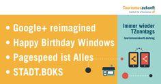 Immer wieder TZonntags, 22.11.2015: Google+ reimagined | Facebook hilft beim Trennungsschmerz | eLearning für DMOs | Pagespeed | Happy Birthday Windows | STADT.BOKS