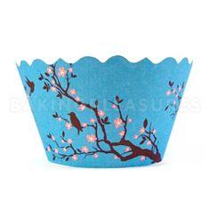 Blossom Bird Blue Cupcake Wrappers