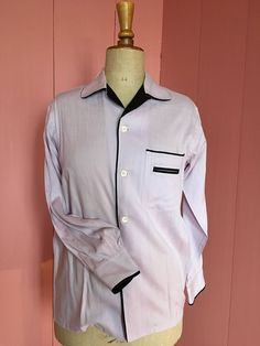 50s mens two tone shirt, lilac and black. very good vintage condition. door Tonupgirl op Etsy
