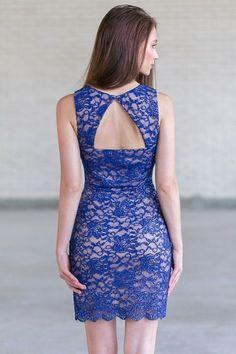 Blue Lace Sheath Dress, Cute Blue Cocktail Party Dress Online