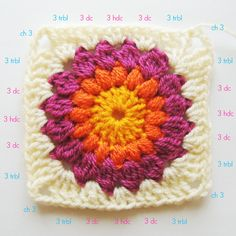 sunburst granny square tutorial