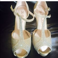 Beautiful shimmering shoes Used once during my wedding.. Look new Shoes Heels