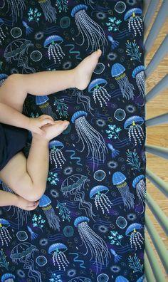 QUICK SHIP Jellyfish baby bedding Sea crib sheet Ocean toddler bedding Ocean nursery Crib bedding, boy mini crib sheet Pillowcase - New Site Ocean Themed Nursery, Sea Nursery, Baby Nursery Bedding, Nautical Nursery, Coastal Nursery, Babies Nursery, Baby Boy Rooms, Baby Boy Nurseries, Baby Cribs