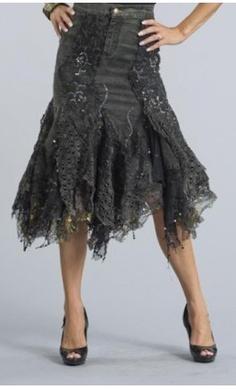 Messina black denim skirt