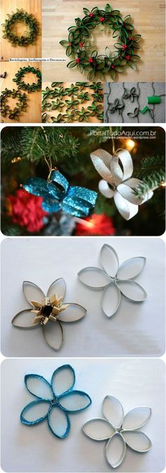 New Diy Christmas Paper Ornaments Simple Ideas Paper Christmas Ornaments, Diy Christmas Decorations Easy, Easy Christmas Crafts, Christmas Projects, Simple Christmas, Navidad Simple, Navidad Diy, Paper Flowers, Toilet Paper