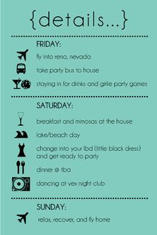 Bachelorette Party Itinerary By MadeWithLoveInvites On Etsy - Party invitation template: bachelorette party itinerary template