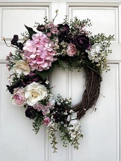 Your place to buy and sell all things handmade – Grapevine Wreath İdeas. Wreath Crafts, Diy Wreath, Grapevine Wreath, Tulle Wreath, Burlap Wreaths, Advent Wreath, Wreath Ideas, Hydrangea Wreath, Pink Hydrangea