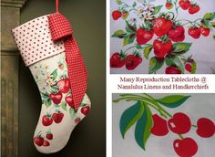 Make darling Christmas stockings from reproduction tablecloths.