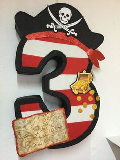 piarate pinata birthday pirate party number 3 por aldimyshop