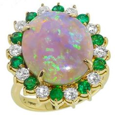 diamond emerald opal  14k yellow gold ring Un accesorio de infarto!
